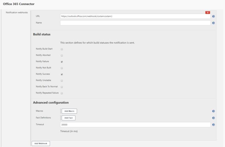 Dodanie konfiguracji webhooka w projekcie