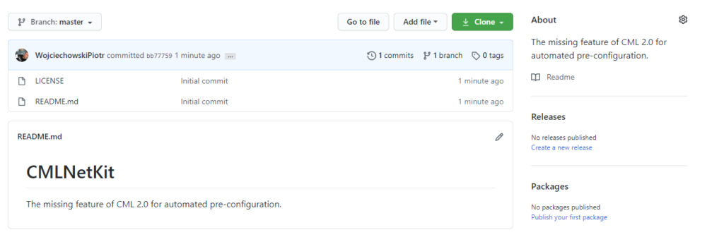 GitHub - Okno nowego projektu