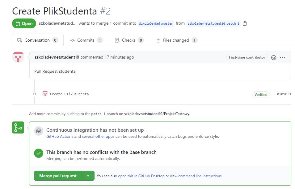 GitHub - Pull Request od strony właściciela projektu