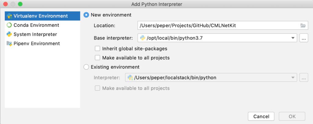 pyCharm - Dodanie nowege interpretera