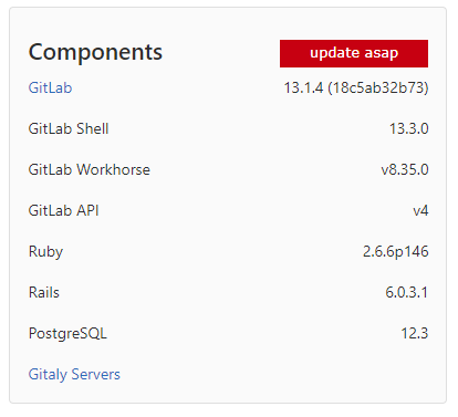 GitLab - raport wersji komponentów