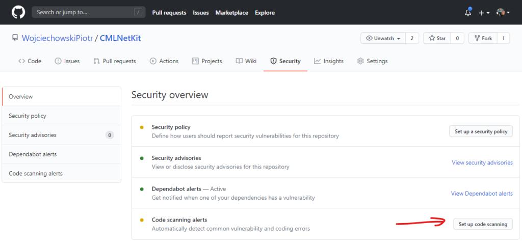 Aktywacja skanera kodu CodeQL w projekcie na GitHub