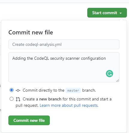 Wgranie pliku konfiguracyjnego CodeQL do repozytorium projektu